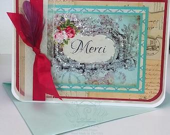 Merci, Französisch inspirierte, innen blanko, 5 x 7 Grußkarten und Aqua Marine Perle fertig Umschläge, 6er Set