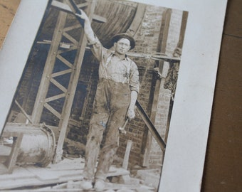 Antique Real Photo Postcard 1910's Real Photo Postcard Vintage Industrial Real Photo Postcard Vintage Industrial Worker Vintage Postcard
