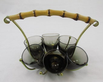 Six Shoot Glasses In Brass Stand / smok glass / black / Mid Century Barware / MCM / Rockabilly  House Bar