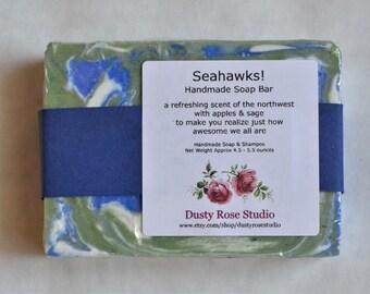 Handmade Soap Bar, Green & Blue Swirl Soap, Natural Soap, Seahawks Soap, Artisan Soap Bar,