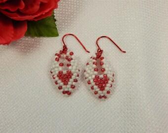 Earrings Red and White Russian Leaf Valentine Earrings (V18)