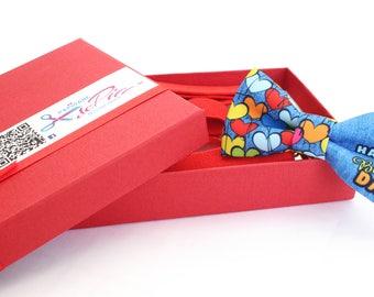 Kids Handmade  Bow Tie and Suspenders Hearts Birthday Denim