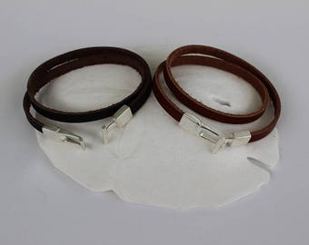 Brown Flat Leather and Silver Wrap Bracelet