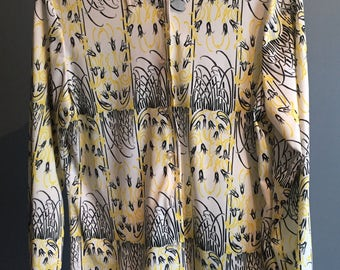 Vintage, 1970, Button up Blouse, Woman's Large, yellow and black floral pattern