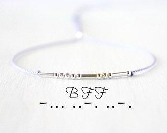 Best Friend Morse Code Bracelet Dainty Silver BFF Bracelet Gift Custom Personalized Morse Code Jewelry Silk Cord Friendship Bracelet