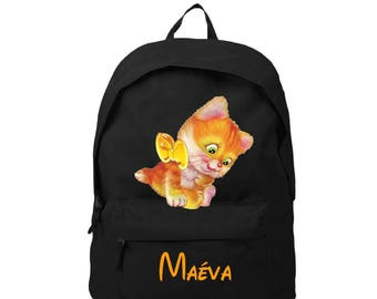 bag has black kitten personalized with name