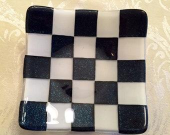 Blue Checkered Dish