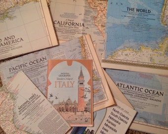 Vintage Maps - 1930's, 1950's thru 1970's  By National Geographic Society
