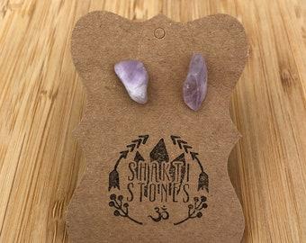 Lilac Amethyst Gemstone Stud Earrings
