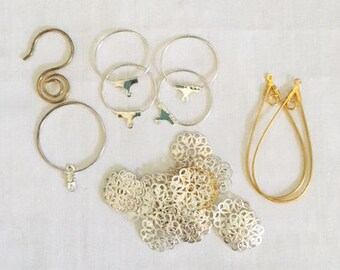 Jewelry Accessories Findings, Rounds, Ovals, S hook, floral spacers, gold, silver, Jewelry Findings Mix, Ear Hoops