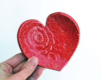Red Heart Dish - Ceramic, Pottery - Spoon Rest, Soap Dish, Tea Bag Rest, Jewelry Dish, Ring Holder, Red Lace Heart Dish, LaurenSumnerPottery