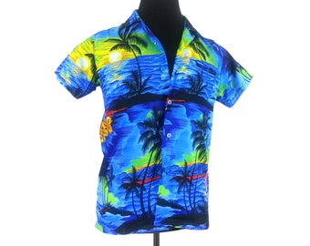 Blue Women's Hawaiian Shirt Blouse - Size Small / short sleeves button up front vintage 90s beach vacation summer womens clothing tops