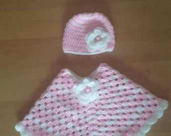 baby  girl poncho, poncho & hat age 6-12months, girl poncho, crochet baby poncho, baby girl poncho, crochet poncho, poncho crochet