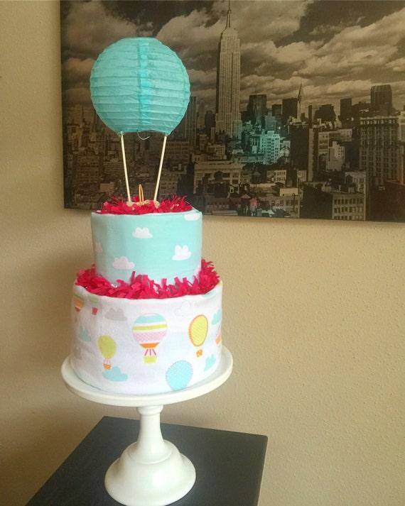 tiered baby girl hot air balloon diaper cake hot air balloon. Black Bedroom Furniture Sets. Home Design Ideas