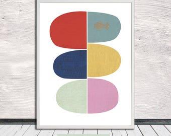 Wabi-sabi geometric pebble print, Minimalistic poster, Printable Art, Instant Digital Download