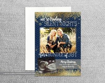 holiday card, christmas card, pregnancy announcement, new baby, chevron, holiday card, pregnancy announcemnt, PRINTABLE or PRINTED CARDS
