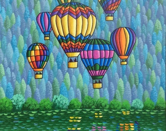 Balloons over lake, Original Acrylic painting, whimsical art by Jordanka