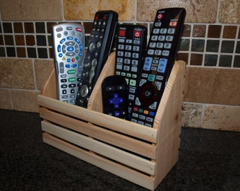 TV Remote Holder, TV Remote Control Caddy, Wooden Remote Holder