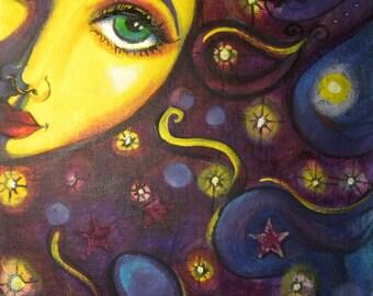 """Soleil visage peinture déesse céleste art imprimer 8 x 10 """"décor fantaisiste CaaT"""