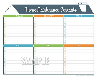 Home Maintenance Schedule - Home Maintenance Calendar - Printable and Editable Organizing PDF - INSTANT DOWNLOAD