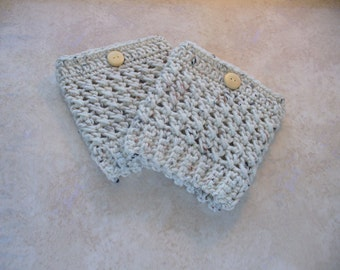 Women's Aran Fleck Boot Cuffs - Boot Toppers - Boot Socks - Leg Warmers - Crochet  with Wood Button