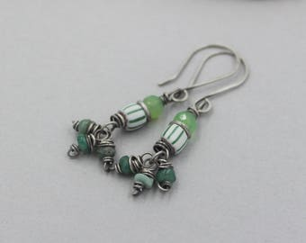 Green Emerald, Chrysoprase and Antique Trade Bead Dangle Earrings, Wire Wrapped GemstonesFunky Earrings, Artisan Jewelry, Birthstone Gift
