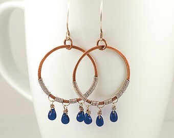 Sea Glass Fringe Hoop Chandelier Earrings, Copper and Sterling Silver, Mixed Metals, Cobalt Blue Glass Beads, Original Design