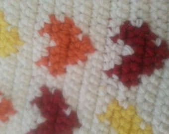 Pet Mat 12 x 18 Fall Colors Hearts Crochet  Free Shipping