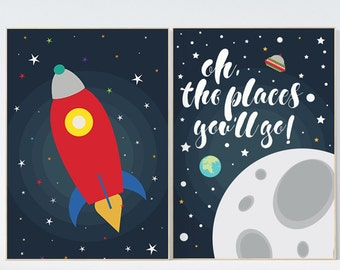 Oh the places you'll go, outer space nursery wall art, navy space nursery decor, baby boy, moon print, playroom decor, kids room, space art