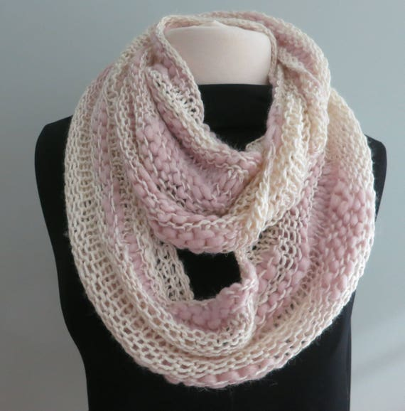 Cowl Knitting Pattern Thick and Thin Yarn Beginner Knitting