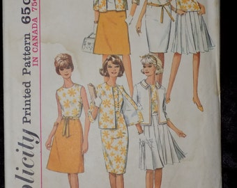 Vintage 1965 Sewing Pattern Simplicity 5927 , Dress, Skirt, and Jacket Sewing Pattern Size 10 Bust 31