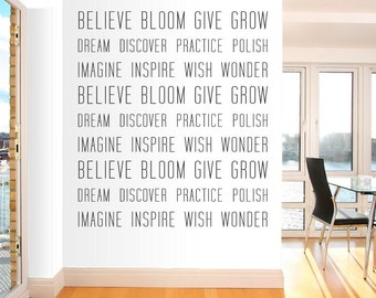 Encouraging Verbs Wall Quote Decal - Modern Nursery Decor, Verbs, Inspirational Wall Quote, Typography Decal, Motivational Wall Quote