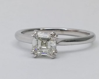 0.78 Carat Solitaire  Asscher Cut  Diamond 14k White Gold Engagement Ring