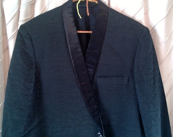 Vintage 1960's Black Satin Damask Tuxedo Jacket, Tailored L.G. Chan , Excellent Condition