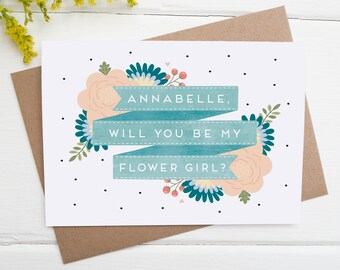 Will You Be My Flower Girl? - Be my flower girl card - Personalised flower girl Card - Flower Girl Proposal Card