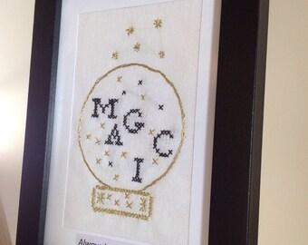 """Magic globe artwork - Framed needlework """"Always believe in Magic."""""""