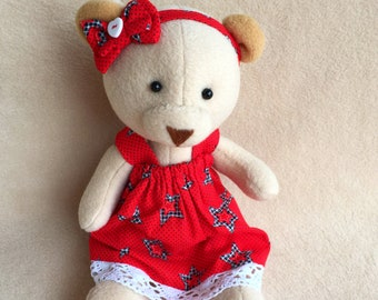 Teddy Bear, Sewn bear, One of a kind Teddy, Handmade Teddy bear, Teddy Bear Girl, Teddy Bear in dress, Beige Teddy Bear, Plush Teddy Bear
