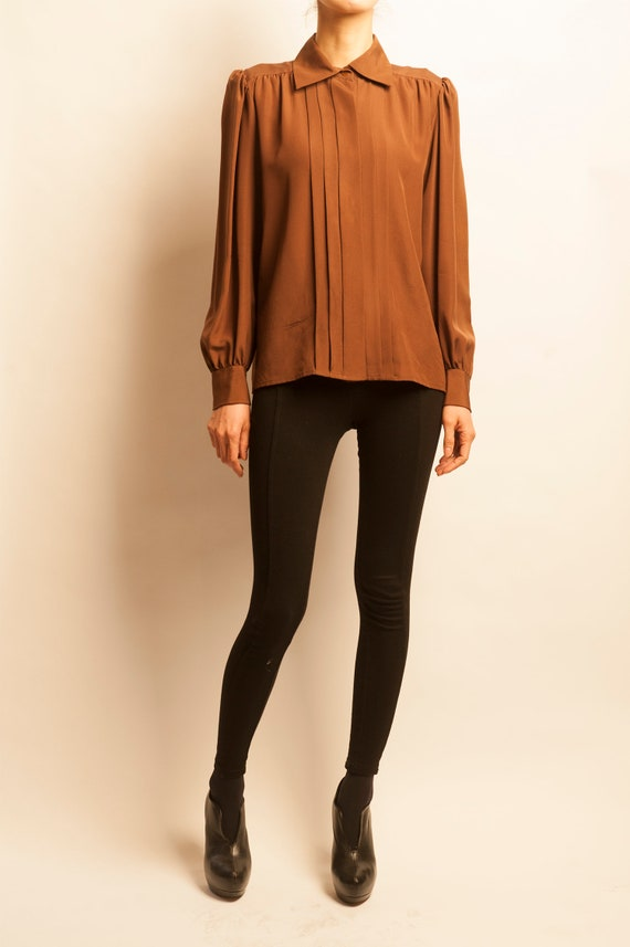 Yves Saint Laurent 1980's brown silk pleated blouse