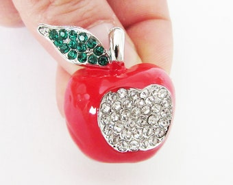 Red Apple Brooch, Red Crystal Apple Brooch Pin, Apple Brooch, Fruit Jewellery, Fruit Jewelry, Apple Brooch Pin, Snow White's Apple