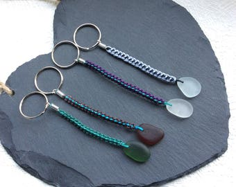 Sea glass keyring on waxed cord braided strands - sea glass keychain - seaham sea glass