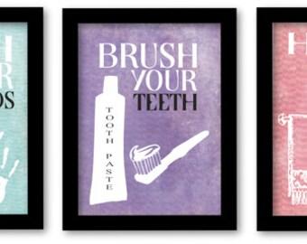 Wash Your Hands, Brush Your Teeth, Hang your towel, Kids bathroom wall art, bathroom prints for kids