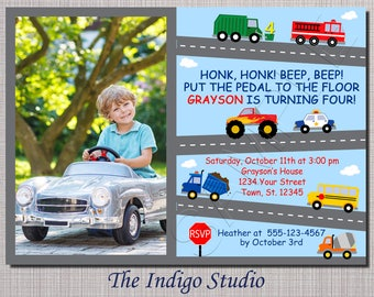 Cars and Trucks  Birthday  Invitation ALL AGES Option with No photo - see other verse options in description -invitation you Print