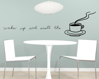 Vinyl Wall Decal Sticker Wake Up and Smell the Coffee OSMB1143s