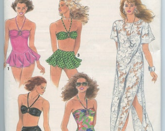 1990's Simplicity 7837 Misses One and Two-Piece Swimsuits and Cover-Up Vintage Sewing Pattern Size 10 - 16 UNCUT