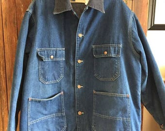 Vintage Chore Coat by Big Mac made in USA  size 46 in soft broken in condition . My husband wears a 42 so you can see this one is big on him