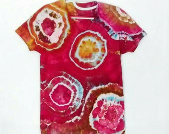 Red Gold Agate design Ice Dyed Tee Shirt men's size Small
