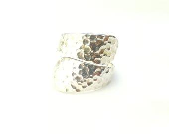 Vintage Sterling Silver Designer Hammer Textured Adjustable Tapered Helix Ring