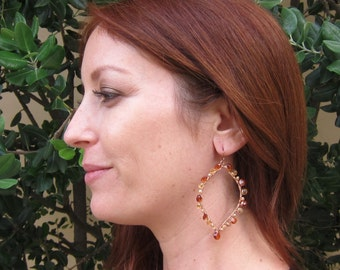 Bronze Citrine, Yellow Citrine and Pearl 14K Rose Gold Filled Handmade Gem Wrapped Earrings