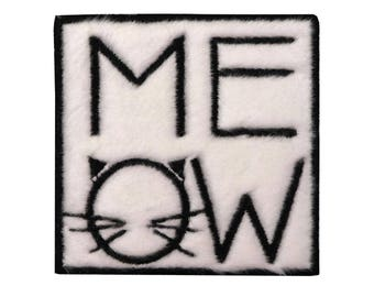 Meow Iron On Patch, Cat Iron on Applique, Cat Patch, Cat Applique, Meow Patch, Kids Patch