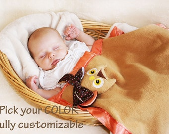 Owl Security Blanket Baby blanket Lovey Blanket, Satin, Baby Blanket, Stuffed Animal, Baby Toy - Customize Color - Monogramming Available